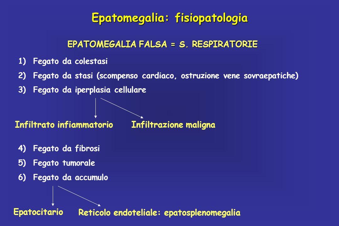 Epatomegalia: fisiopatologia EPATOMEGALIA FALSA = S. RESPIRATORIE Epatocitario Reticolo endoteliale: epatosplenomegalia 4)Fegato da fibrosi 5)Fegato t