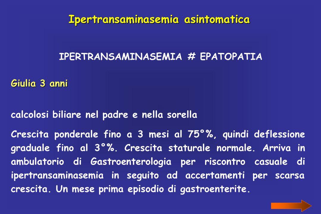 Ipertransaminasemia asintomatica IPERTRANSAMINASEMIA # EPATOPATIA Giulia 3 anni calcolosi biliare nel padre e nella sorella Crescita ponderale fino a