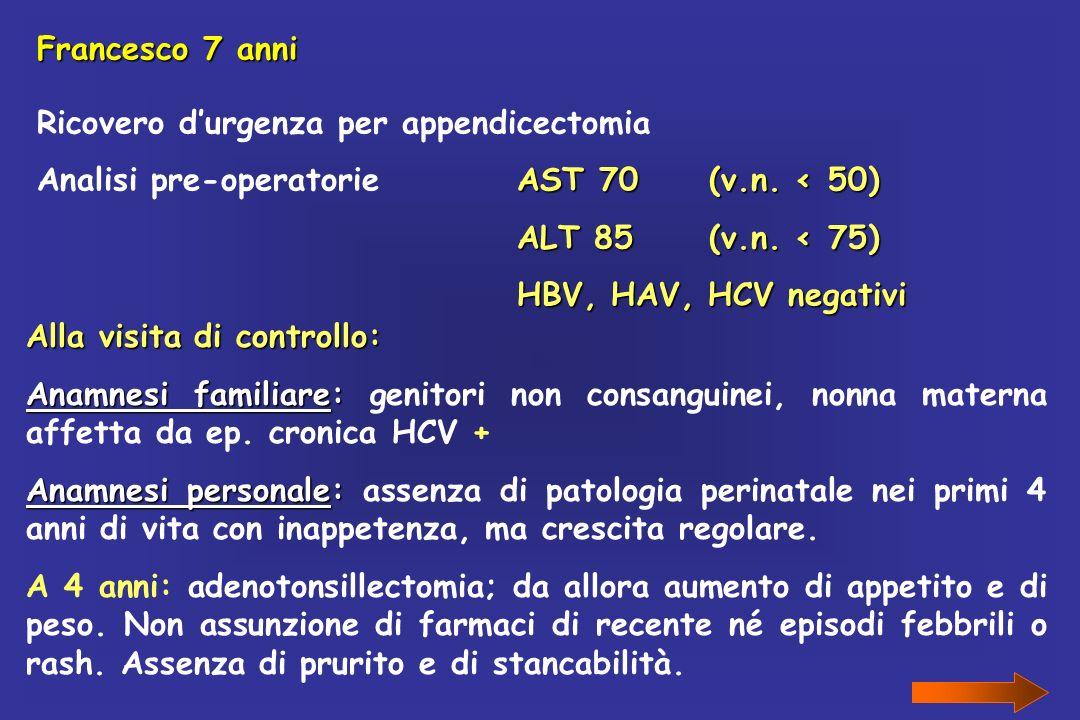 Francesco 7 anni Ricovero durgenza per appendicectomia AST 70(v.n. < 50) Analisi pre-operatorieAST 70(v.n. < 50) ALT 85(v.n. < 75) HBV, HAV, HCV negat