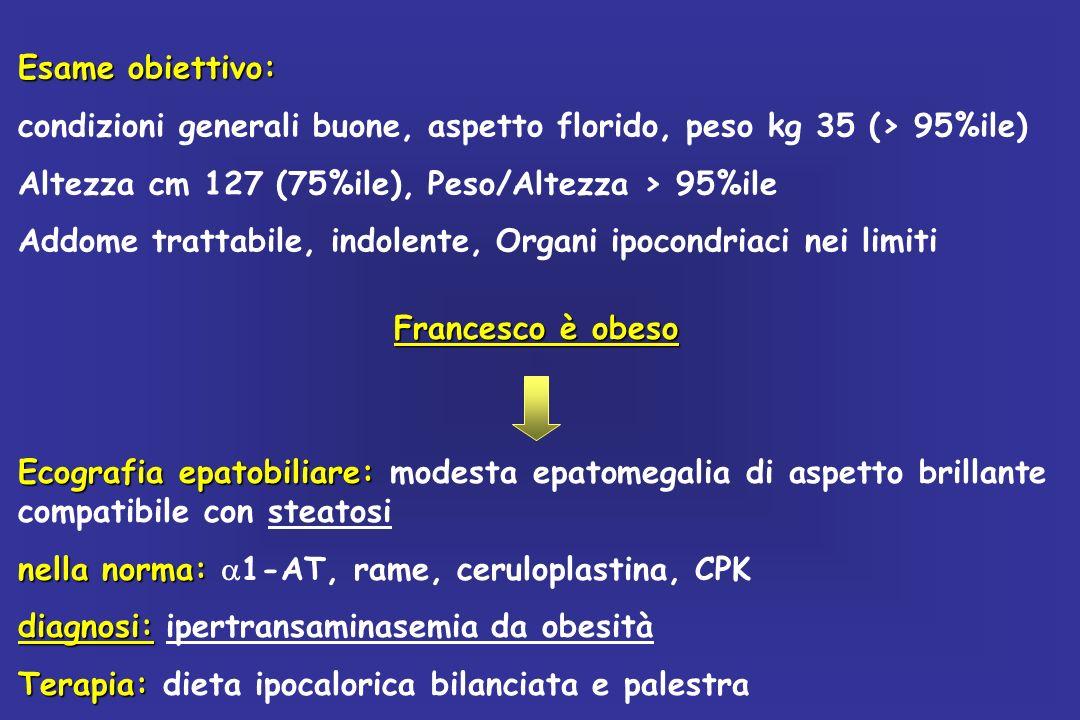 NON ALCOHOLIC FATTYLIVER DISEASE (NAFLD): PATOLOGIA ANCHE PEDIATRICA Esiste correlazione tra grado di obesità e prevalenza di steatosi Sovrappeso e obesità sono le cause più comuni di aumento degli enzimi epatici negli adolescenti DIAGNOSI DI STEATOSI EPATICA NELLOBESO ECOGRAFIA 20-50% TRANSAMINASI 10-30% PREVALENZA SOVRAPPESO/OBESITA IN ITALIA 20% La causa più frequente di epatopatia cronica in età evolutiva