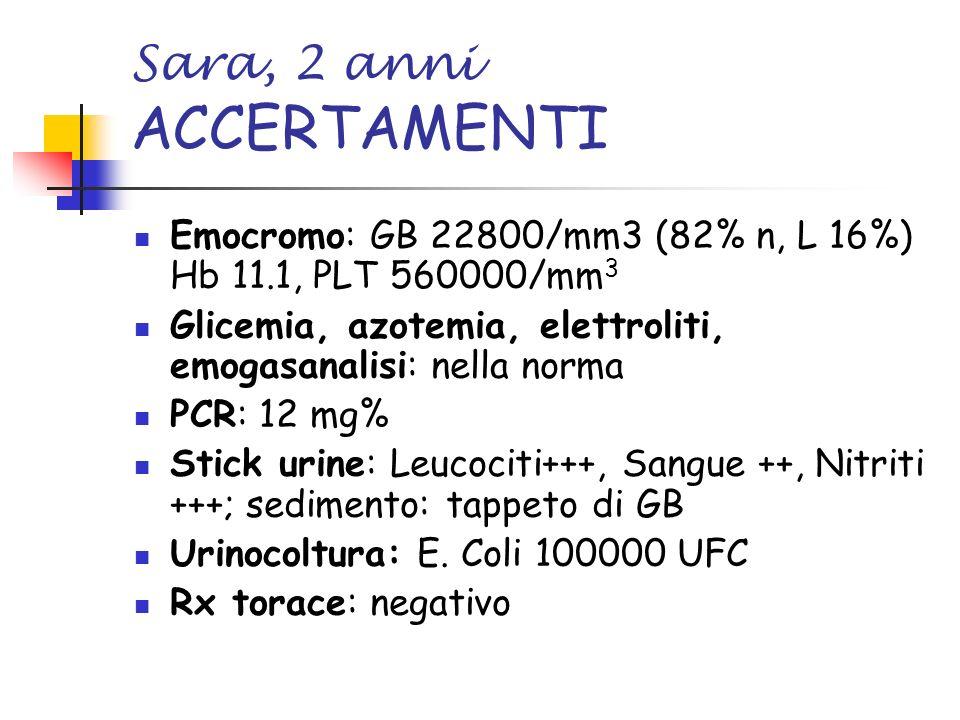 Sara, 2 anni ACCERTAMENTI Emocromo: GB 22800/mm3 (82% n, L 16%) Hb 11.1, PLT 560000/mm 3 Glicemia, azotemia, elettroliti, emogasanalisi: nella norma P