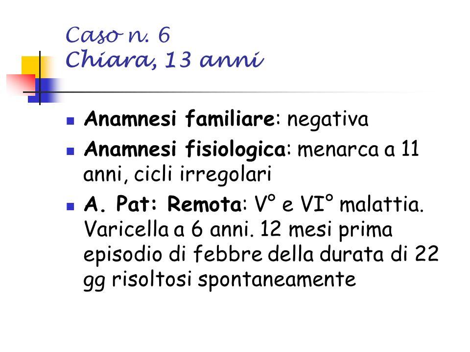 Caso n. 6 Chiara, 13 anni Anamnesi familiare: negativa Anamnesi fisiologica: menarca a 11 anni, cicli irregolari A. Pat: Remota: V° e VI° malattia. Va