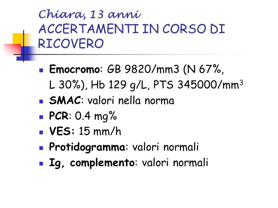 Chiara, 13 anni ACCERTAMENTI IN CORSO DI RICOVERO Emocromo: GB 9820/mm3 (N 67%, L 30%), Hb 129 g/L, PTS 345000/mm 3 SMAC: valori nella norma PCR: 0.4 mg% VES: 15 mm/h Protidogramma: valori normali Ig, complemento: valori normali
