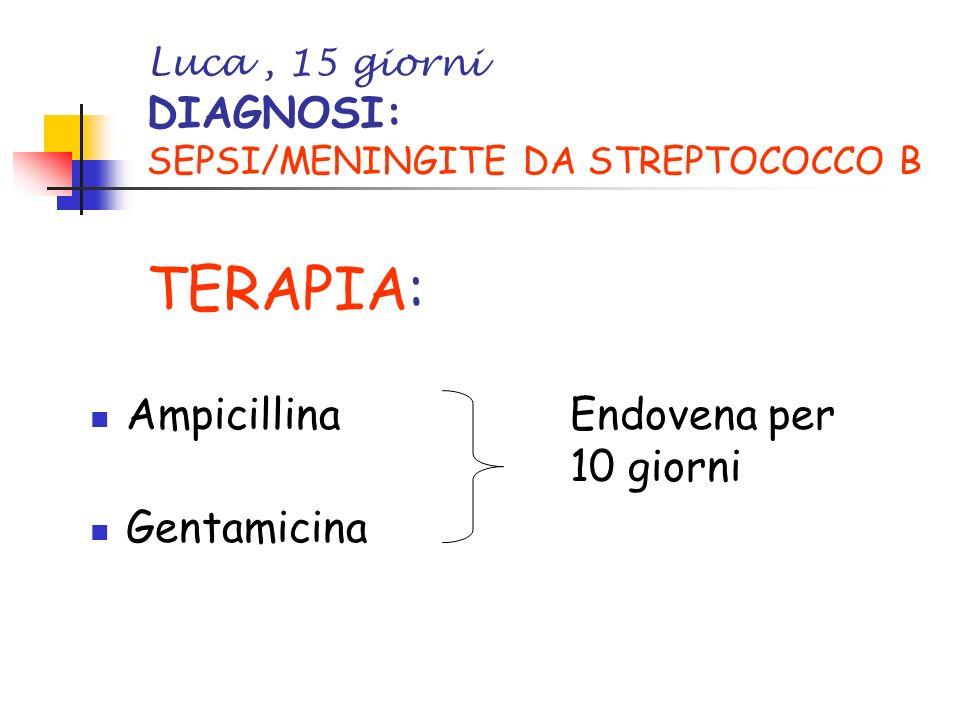Luca, 15 giorni DIAGNOSI: SEPSI/MENINGITE DA STREPTOCOCCO B TERAPIA: AmpicillinaEndovena per 10 giorni Gentamicina