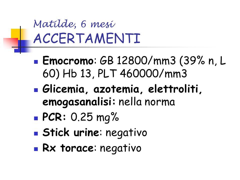 Matilde, 6 mesi ACCERTAMENTI Emocromo: GB 12800/mm3 (39% n, L 60) Hb 13, PLT 460000/mm3 Glicemia, azotemia, elettroliti, emogasanalisi: nella norma PC
