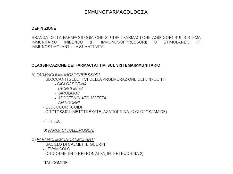 DEFINIZIONE BRANCA DELLA FARMACOLOGIA CHE STUDIA I FARMACI CHE AGISCONO SUL SISTEMA IMMUNITARIO INIBENDO (F.