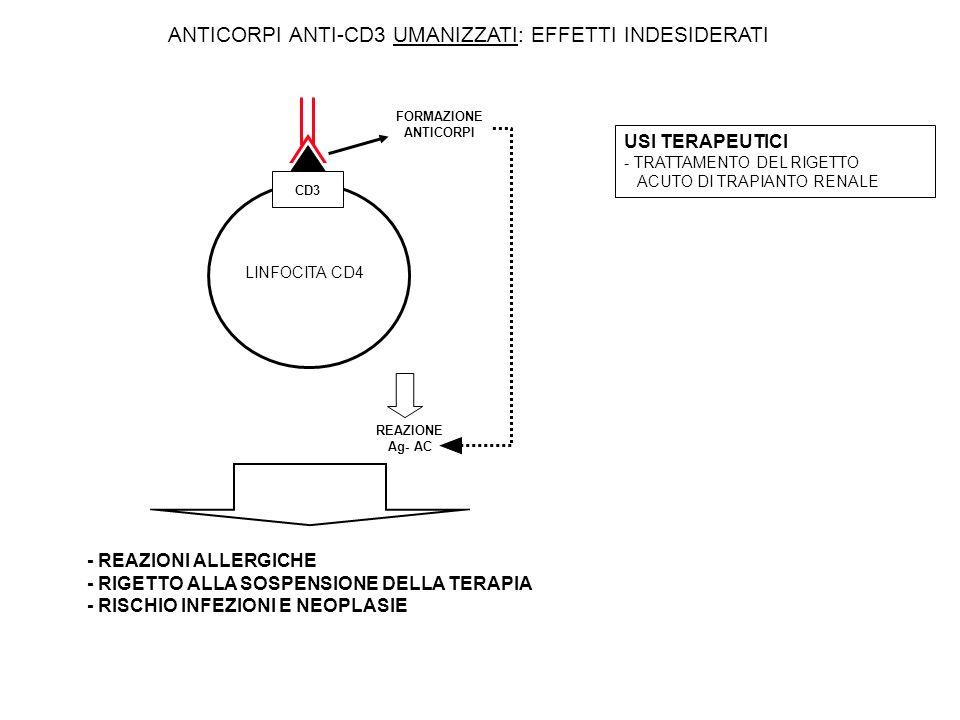 - REAZIONI ALLERGICHE - RIGETTO ALLA SOSPENSIONE DELLA TERAPIA - RISCHIO INFEZIONI E NEOPLASIE ANTICORPI ANTI-CD3 UMANIZZATI: EFFETTI INDESIDERATI CD3 LINFOCITA CD4 REAZIONE Ag- AC FORMAZIONE ANTICORPI USI TERAPEUTICI - TRATTAMENTO DEL RIGETTO ACUTO DI TRAPIANTO RENALE