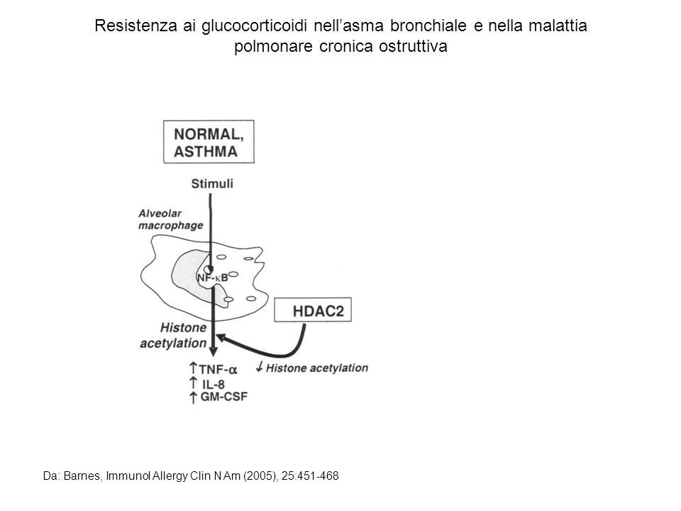 Resistenza ai glucocorticoidi nellasma bronchiale e nella malattia polmonare cronica ostruttiva Da: Barnes, Immunol Allergy Clin N Am (2005), 25:451-4