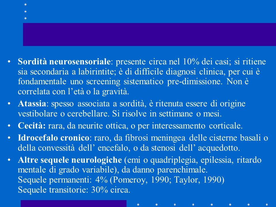 Sordità neurosensoriale: presente circa nel 10% dei casi; si ritiene sia secondaria a labirintite; è di difficile diagnosi clinica, per cui è fondamen