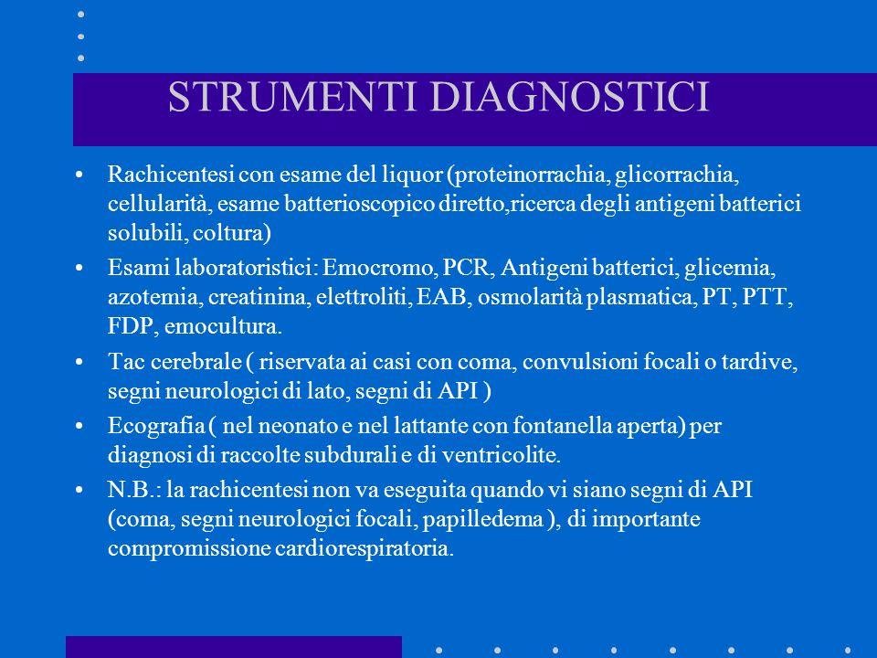STRUMENTI DIAGNOSTICI Rachicentesi con esame del liquor (proteinorrachia, glicorrachia, cellularità, esame batterioscopico diretto,ricerca degli antig