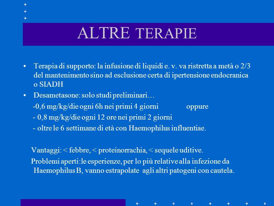 ALTRE TERAPIE Terapia di supporto: la infusione di liquidi e. v. va ristretta a metà o 2/3 del mantenimento sino ad esclusione certa di ipertensione e