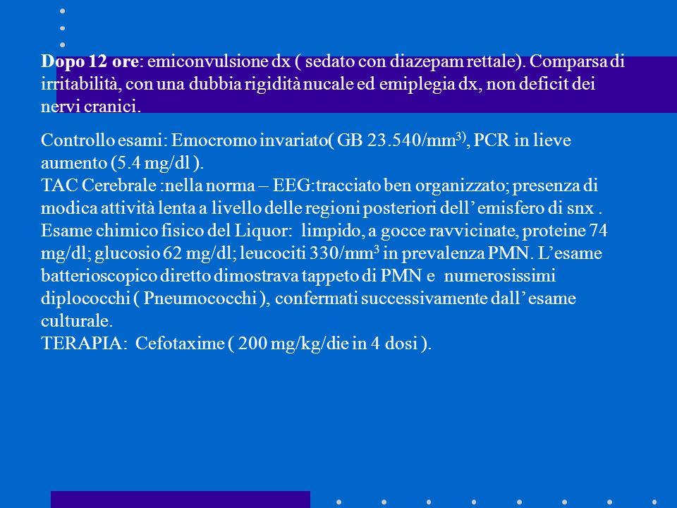 Dopo 12 ore: emiconvulsione dx ( sedato con diazepam rettale). Comparsa di irritabilità, con una dubbia rigidità nucale ed emiplegia dx, non deficit d
