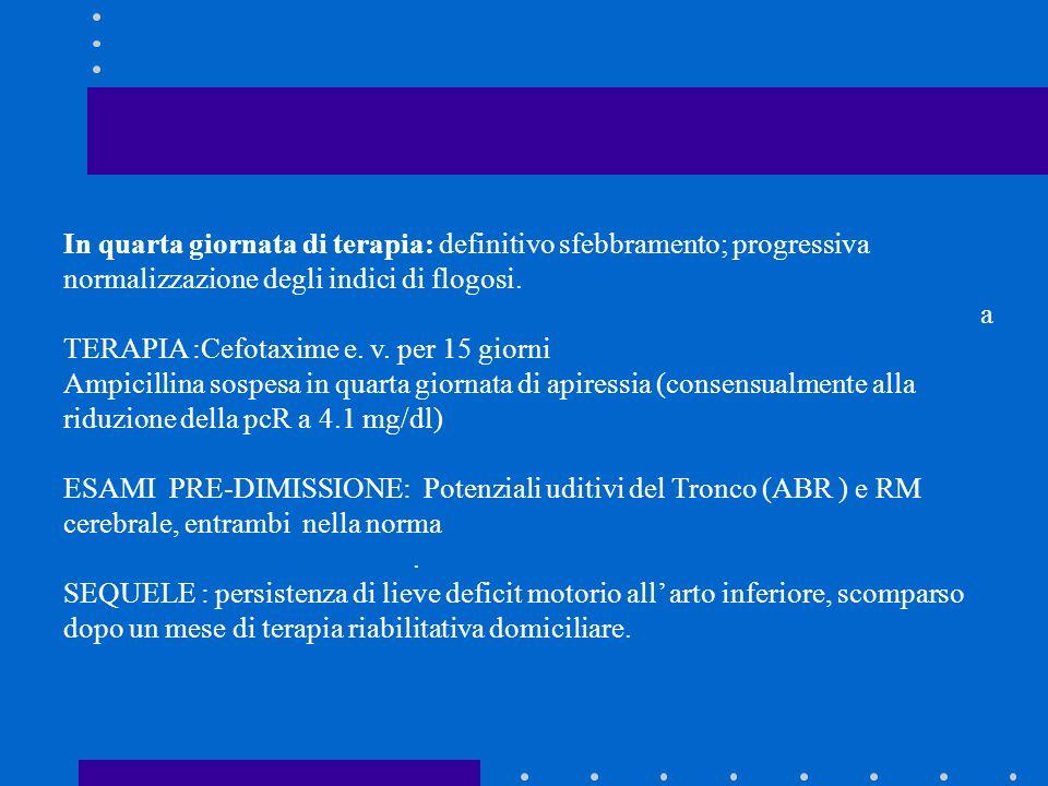 In quarta giornata di terapia: definitivo sfebbramento; progressiva normalizzazione degli indici di flogosi. a TERAPIA :Cefotaxime e. v. per 15 giorni