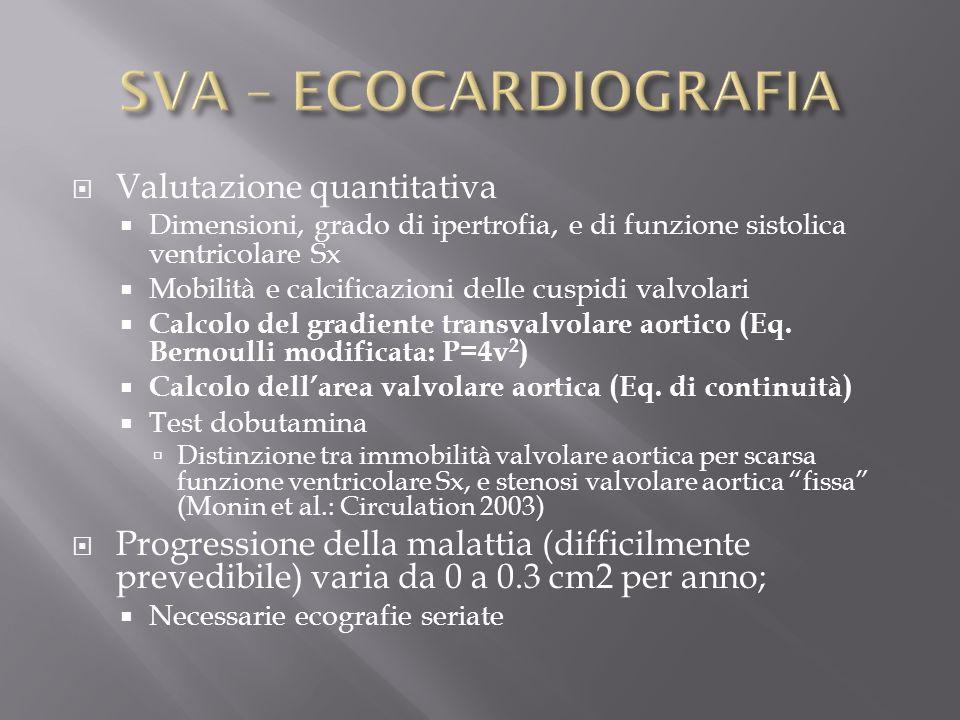 Valutazione quantitativa Dimensioni, grado di ipertrofia, e di funzione sistolica ventricolare Sx Mobilità e calcificazioni delle cuspidi valvolari Ca