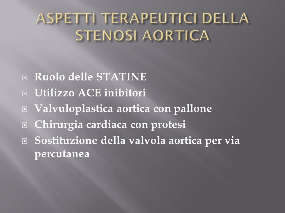 Ruolo delle STATINE Utilizzo ACE inibitori Valvuloplastica aortica con pallone Chirurgia cardiaca con protesi Sostituzione della valvola aortica per v