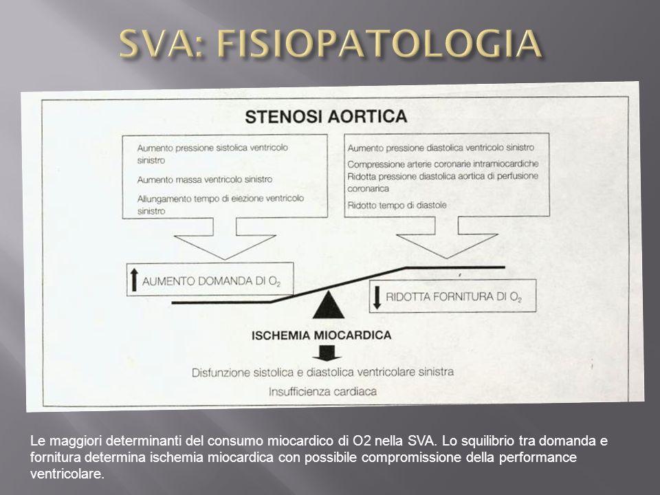 Le maggiori determinanti del consumo miocardico di O2 nella SVA. Lo squilibrio tra domanda e fornitura determina ischemia miocardica con possibile com