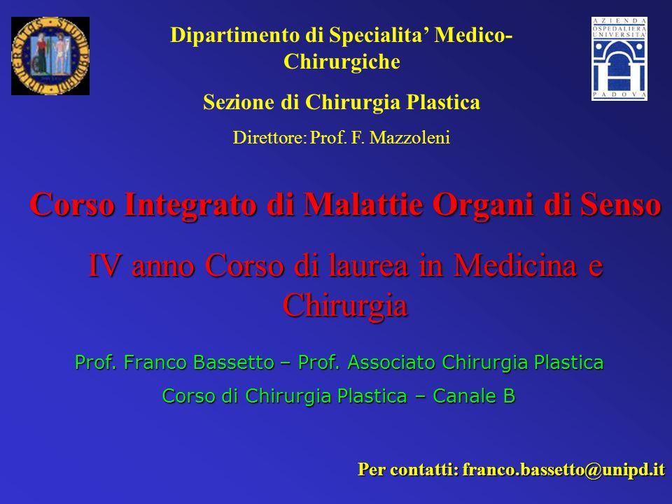 Corso Integrato di Malattie Organi di Senso IV anno Corso di laurea in Medicina e Chirurgia Prof. Franco Bassetto – Prof. Associato Chirurgia Plastica