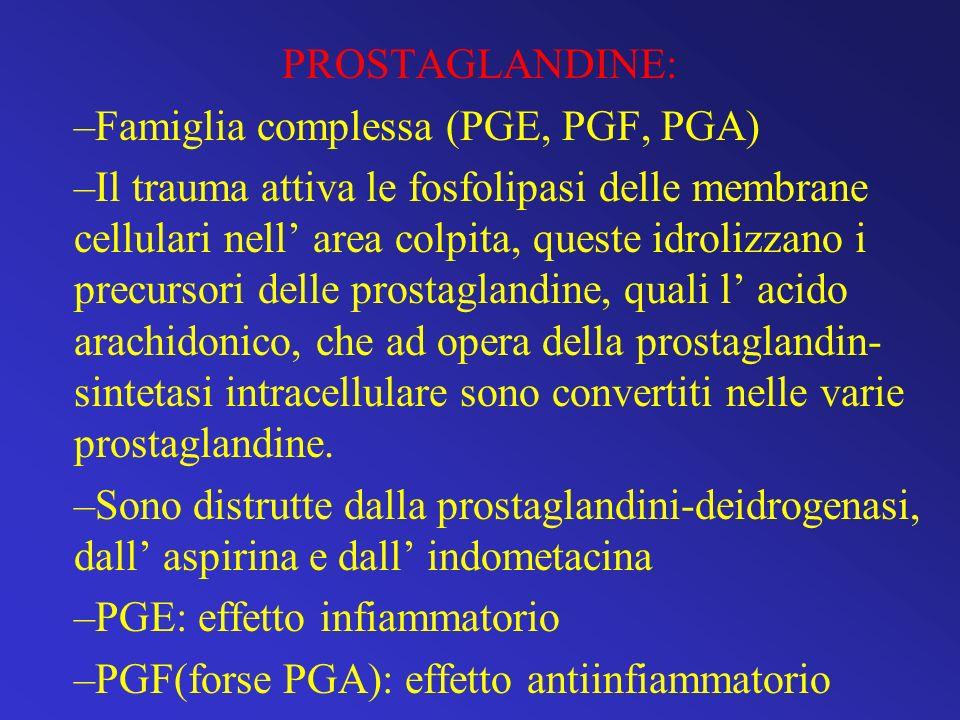 PROSTAGLANDINE: –Famiglia complessa (PGE, PGF, PGA) –Il trauma attiva le fosfolipasi delle membrane cellulari nell area colpita, queste idrolizzano i