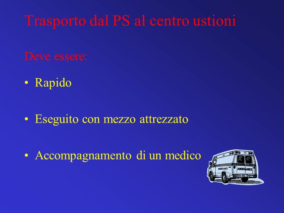 Trasporto dal PS al centro ustioni Deve essere: Rapido Eseguito con mezzo attrezzato Accompagnamento di un medico