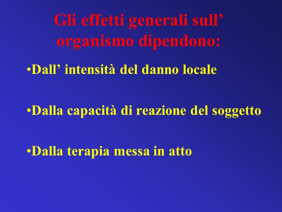 Gli effetti generali sull organismo dipendono: Dall intensità del danno locale Dalla capacità di reazione del soggetto Dalla terapia messa in atto
