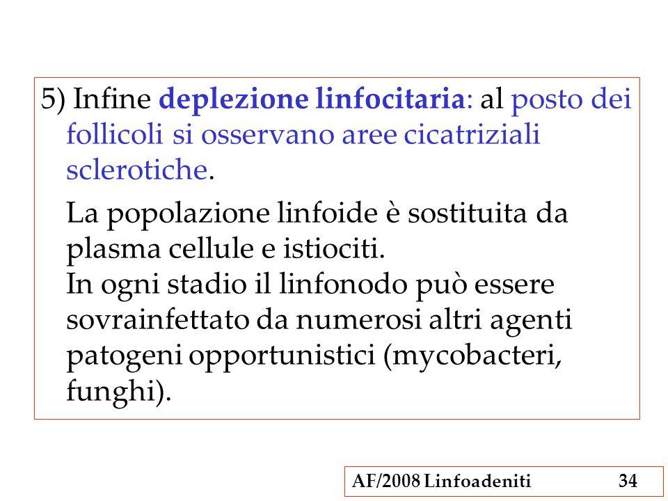 AF/2008 Linfoadeniti34 5) Infine deplezione linfocitaria: al posto dei follicoli si osservano aree cicatriziali sclerotiche. La popolazione linfoide è