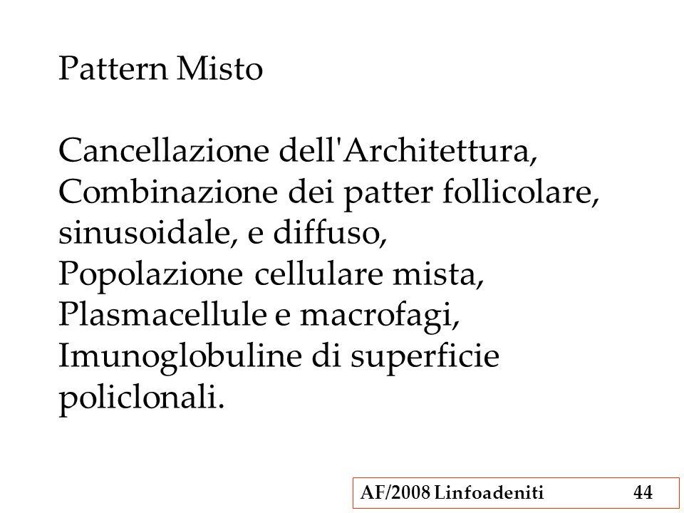 AF/2008 Linfoadeniti44 Pattern Misto Cancellazione dell'Architettura, Combinazione dei patter follicolare, sinusoidale, e diffuso, Popolazione cellula