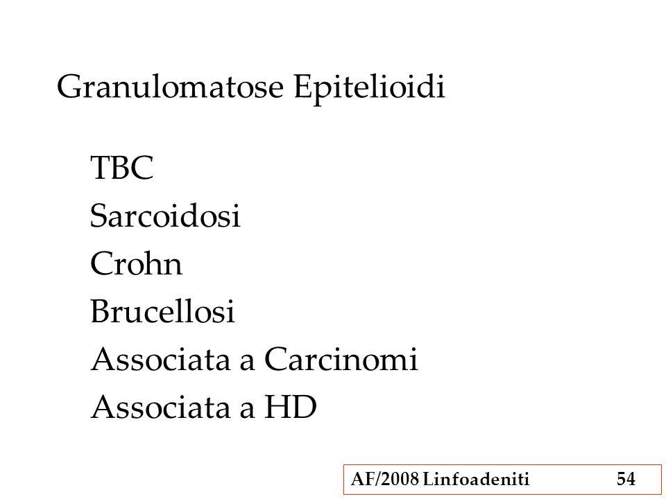 AF/2008 Linfoadeniti54 Granulomatose Epitelioidi TBC Sarcoidosi Crohn Brucellosi Associata a Carcinomi Associata a HD