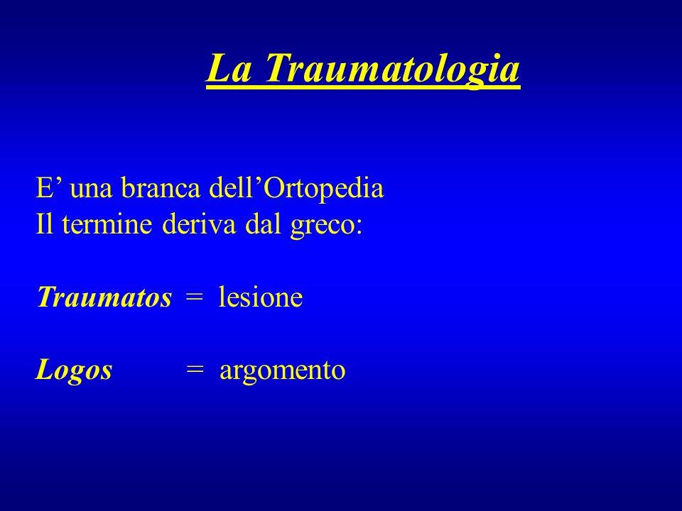 E una branca dellOrtopedia Il termine deriva dal greco: Traumatos = lesione Logos = argomento La Traumatologia