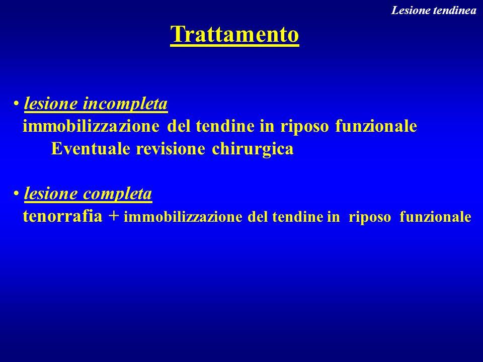 Trattamento lesione incompleta immobilizzazione del tendine in riposo funzionale Eventuale revisione chirurgica lesione completa tenorrafia + immobili