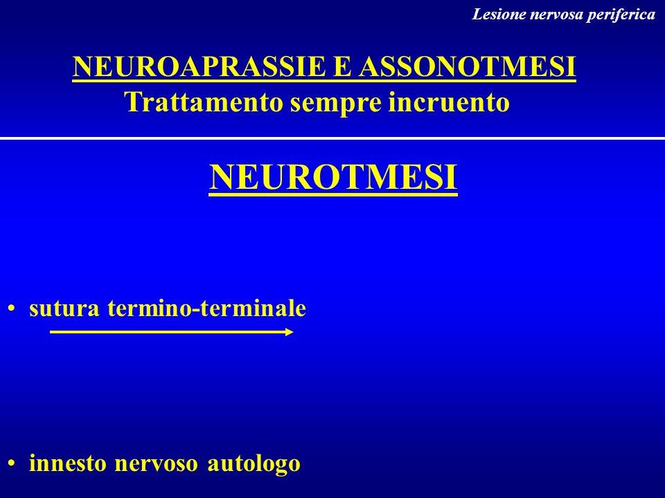 NEUROTMESI sutura termino-terminale innesto nervoso autologo Lesione nervosa periferica NEUROAPRASSIE E ASSONOTMESI Trattamento sempre incruento