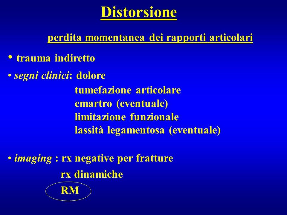 Distorsione perdita momentanea dei rapporti articolari trauma indiretto segni clinici: dolore tumefazione articolare emartro (eventuale) limitazione f