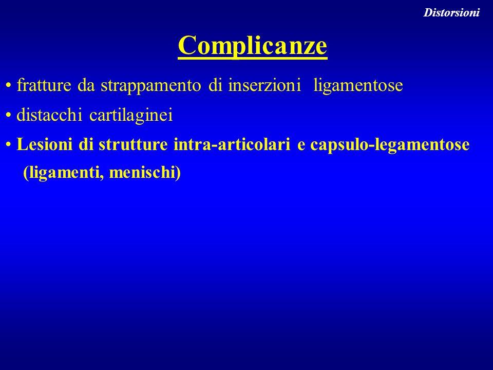 Complicanze fratture da strappamento di inserzioni ligamentose distacchi cartilaginei Lesioni di strutture intra-articolari e capsulo-legamentose (lig