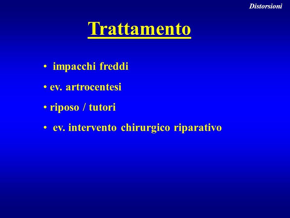 Trattamento impacchi freddi ev. artrocentesi riposo / tutori ev. intervento chirurgico riparativo Distorsioni