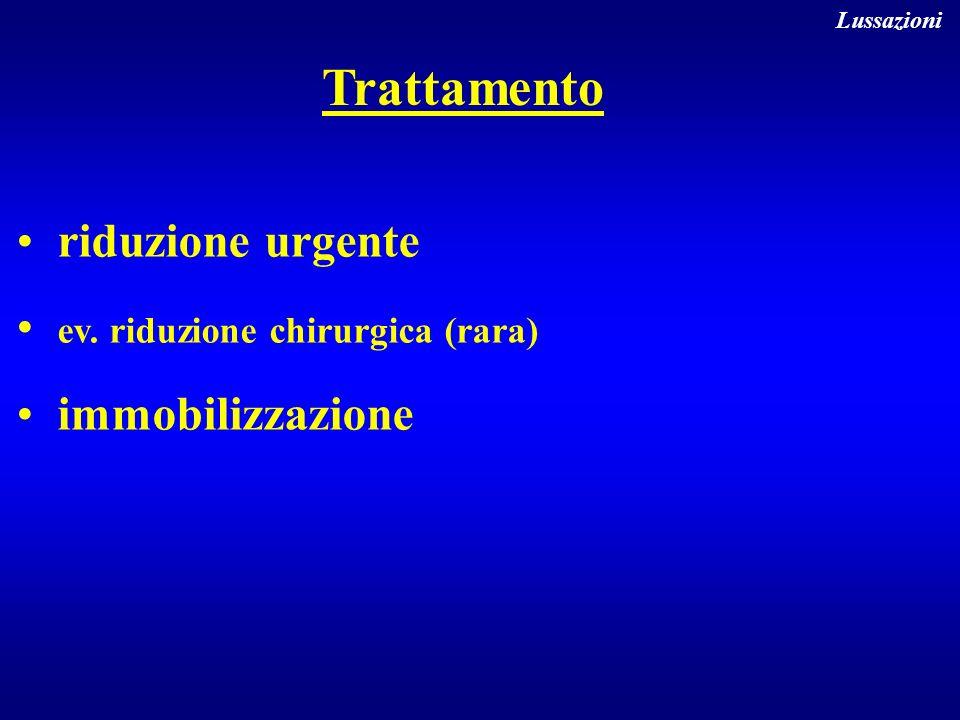 Trattamento riduzione urgente ev. riduzione chirurgica (rara) immobilizzazione Lussazioni