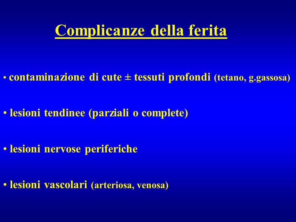 Complicanze della ferita contaminazione di cute ± tessuti profondi (tetano, g.gassosa) lesioni tendinee (parziali o complete) lesioni nervose periferi