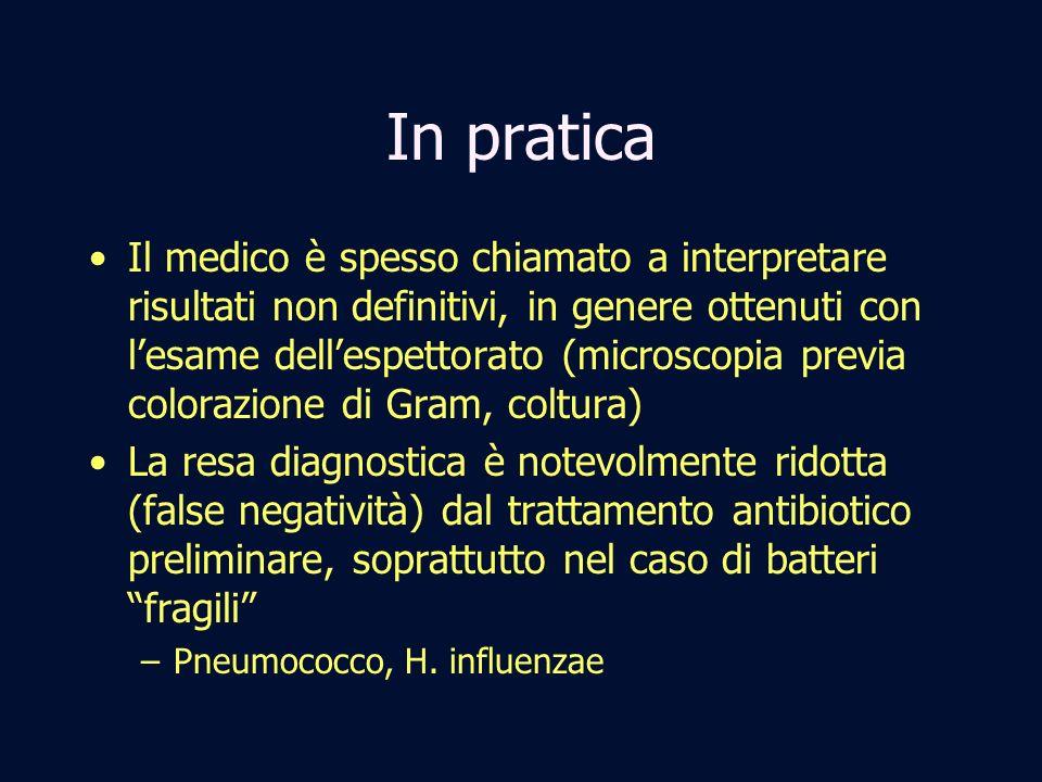 In pratica Il medico è spesso chiamato a interpretare risultati non definitivi, in genere ottenuti con lesame dellespettorato (microscopia previa colo
