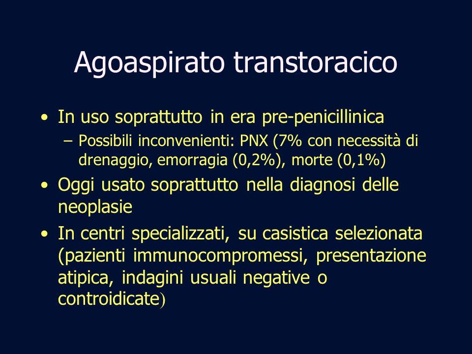 Agoaspirato transtoracico In uso soprattutto in era pre-penicillinica –Possibili inconvenienti: PNX (7% con necessità di drenaggio, emorragia (0,2%),