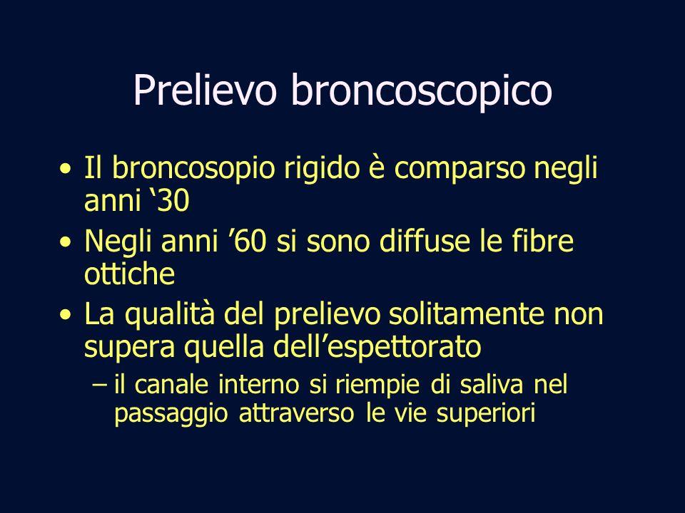 Prelievo broncoscopico Il broncosopio rigido è comparso negli anni 30 Negli anni 60 si sono diffuse le fibre ottiche La qualità del prelievo solitamen