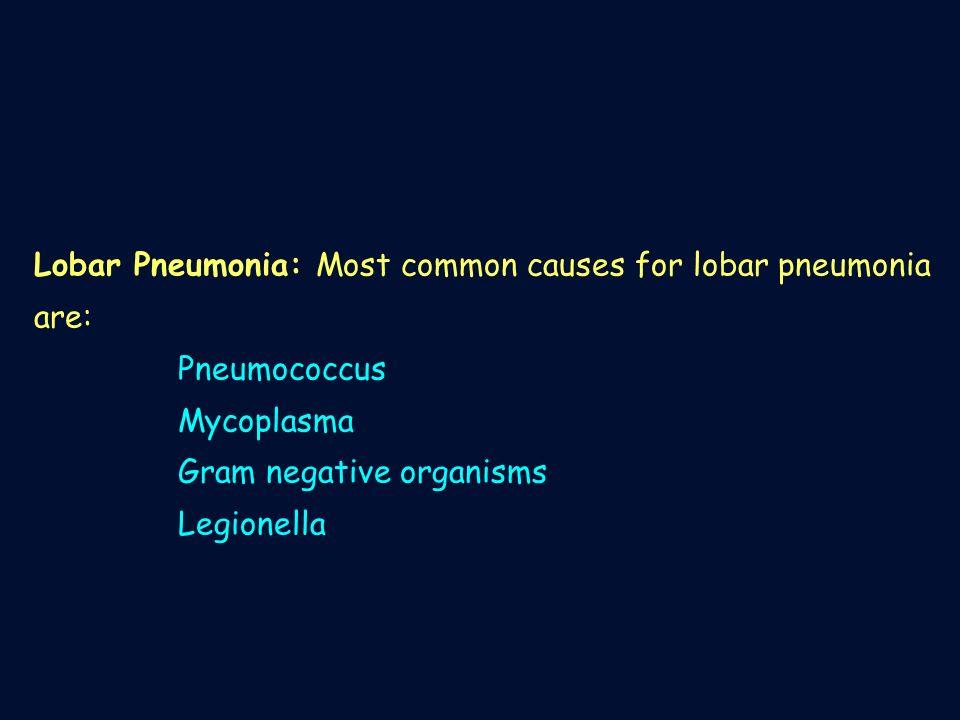Lobar Pneumonia: Most common causes for lobar pneumonia are: Pneumococcus Mycoplasma Gram negative organisms Legionella