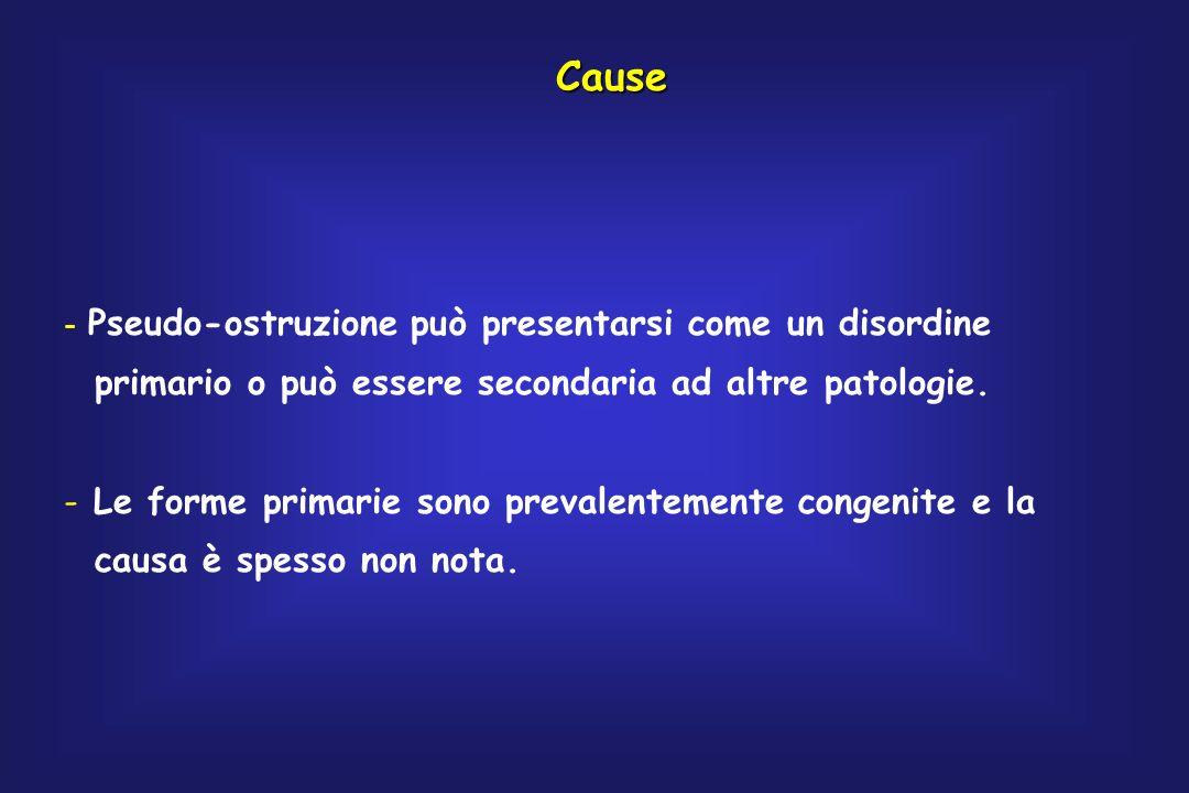 Cause - Pseudo-ostruzione può presentarsi come un disordine primario o può essere secondaria ad altre patologie. - Le forme primarie sono prevalenteme