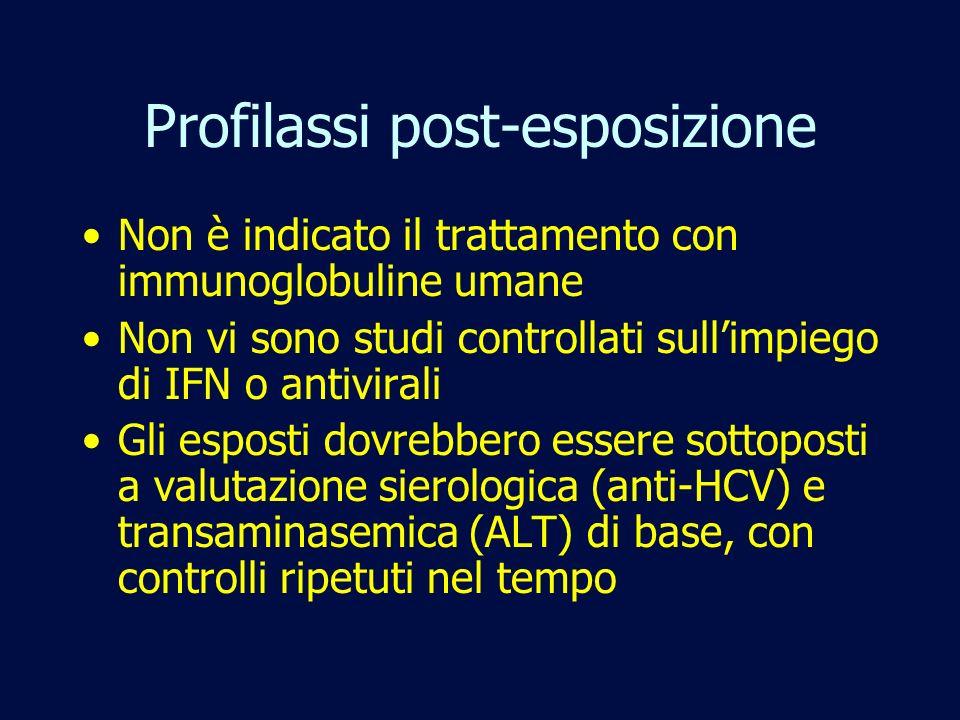 Profilassi post-esposizione Non è indicato il trattamento con immunoglobuline umane Non vi sono studi controllati sullimpiego di IFN o antivirali Gli