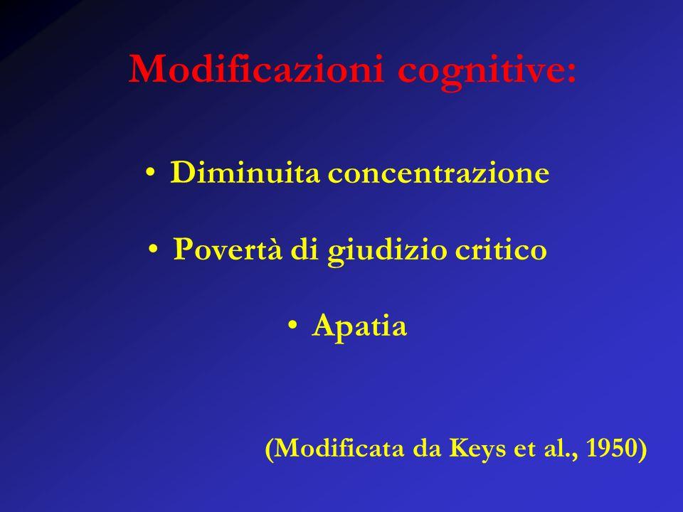 Modificazioni cognitive: Diminuita concentrazione Povertà di giudizio critico Apatia (Modificata da Keys et al., 1950)