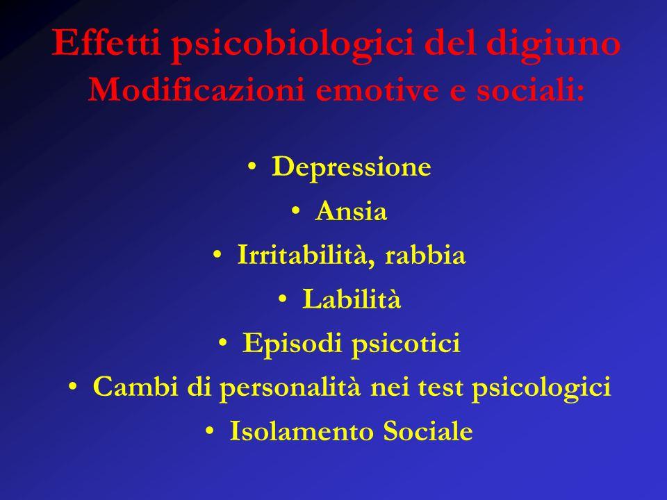 Effetti psicobiologici del digiuno Modificazioni emotive e sociali: Depressione Ansia Irritabilità, rabbia Labilità Episodi psicotici Cambi di personalità nei test psicologici Isolamento Sociale