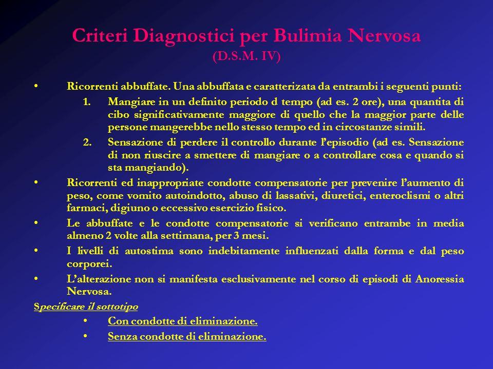 Criteri Diagnostici per Bulimia Nervosa (D.S.M.IV) Ricorrenti abbuffate.