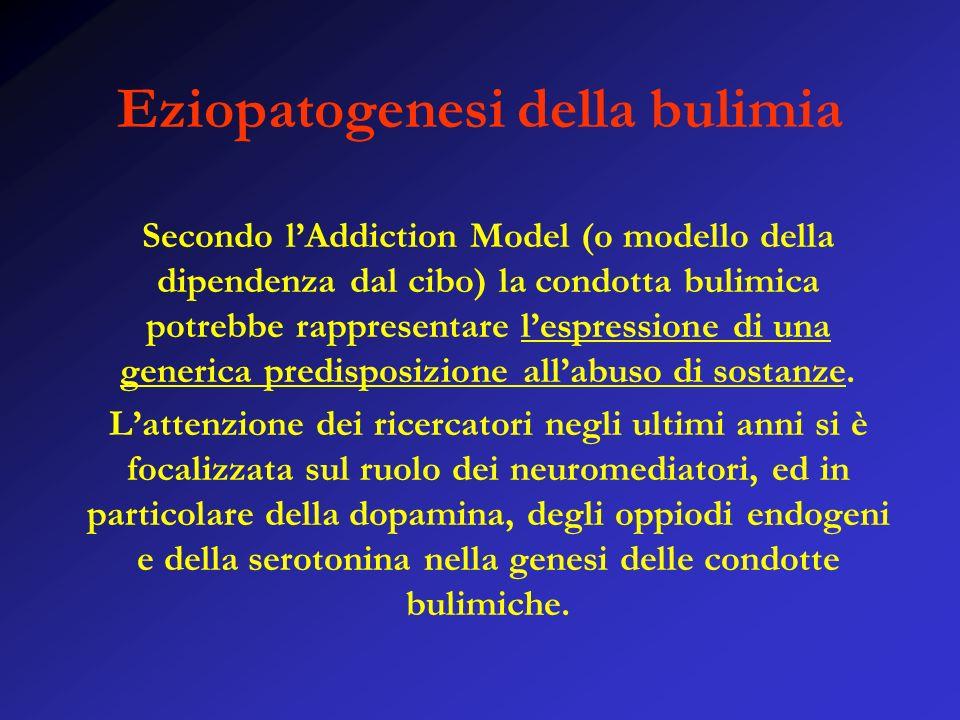 Eziopatogenesi della bulimia Secondo lAddiction Model (o modello della dipendenza dal cibo) la condotta bulimica potrebbe rappresentare lespressione di una generica predisposizione allabuso di sostanze.