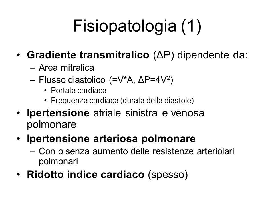 Fisiopatologia (1) Gradiente transmitralico (ΔP) dipendente da: –Area mitralica –Flusso diastolico (=V*A, ΔP=4V 2 ) Portata cardiaca Frequenza cardiac