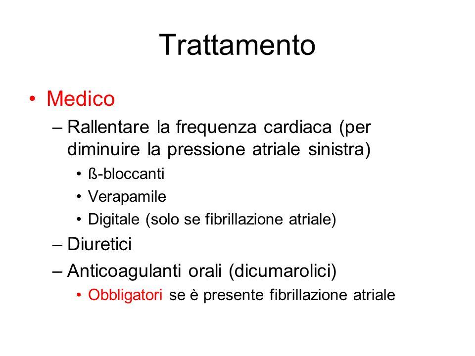 Trattamento Medico –Rallentare la frequenza cardiaca (per diminuire la pressione atriale sinistra) ß-bloccanti Verapamile Digitale (solo se fibrillazi