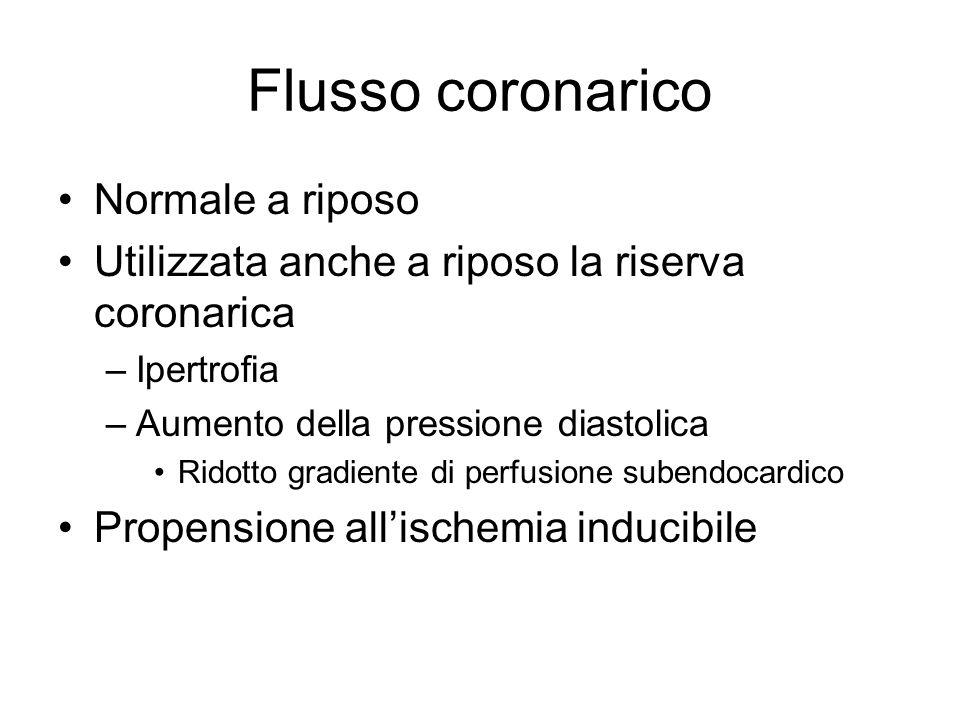 Flusso coronarico Normale a riposo Utilizzata anche a riposo la riserva coronarica –Ipertrofia –Aumento della pressione diastolica Ridotto gradiente d