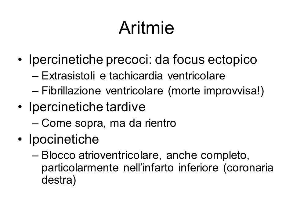 Aritmie Ipercinetiche precoci: da focus ectopico –Extrasistoli e tachicardia ventricolare –Fibrillazione ventricolare (morte improvvisa!) Ipercinetich