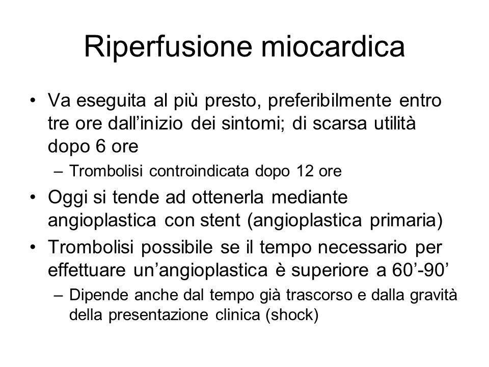 Riperfusione miocardica Va eseguita al più presto, preferibilmente entro tre ore dallinizio dei sintomi; di scarsa utilità dopo 6 ore –Trombolisi cont